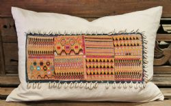 Vintage Linen Cushion made of Antique Textile and Cowry Shell Tassles